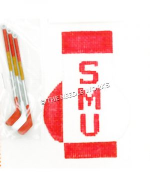 golf bag with SMU written in red and three golf clubs