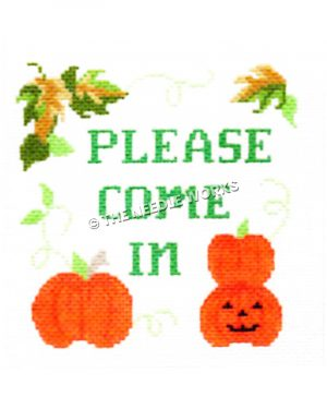 Please Come In written in green with pumpkins and jackolantern and green and gold leaves at top border