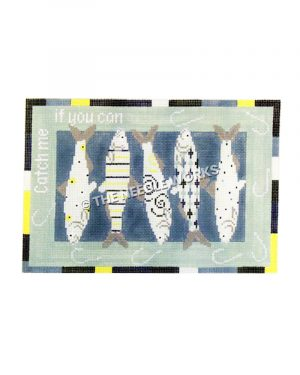 fish with geometric patterns and Catch me if you can written on green border with fish hooks