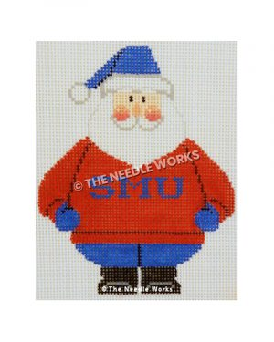 Santa wearing red sweatshirt with SMU in blue and blue and white hat