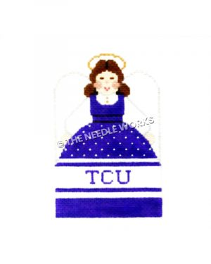 brunette angel in purple, white, and black dress with TCU written on dress