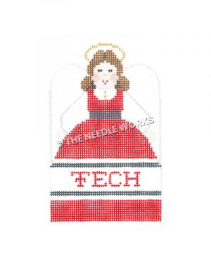 brunette angel in red, white, and black dress with Tech written on dress