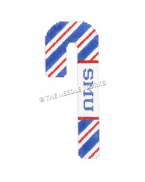 candy cane with SMU on side and blue, red, and white stripes