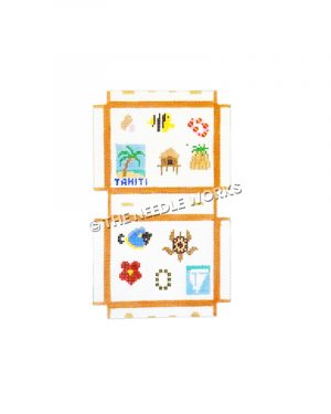 suitcase decorated with island icons including fish, turtle, flowers, leis, palm tree with Tahiti written below