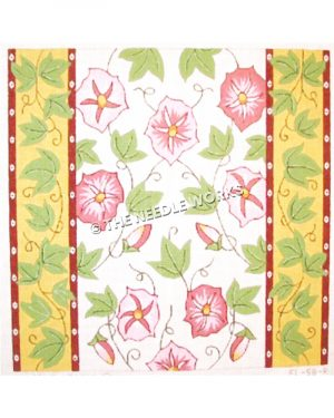 pink flowers on white background with green vines and yellow borders with red stripes and white dots