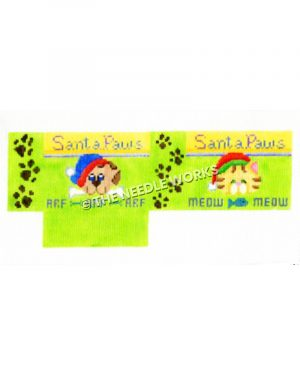 3D lime green box with cat and dog wearing Santa hats, Santa Paws written above and Arf and Meow written below with paw prints on sides