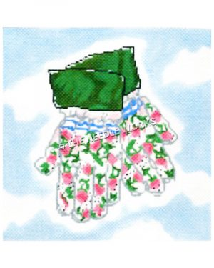 garden gloves with pink roses and green borders on blue sky with clouds