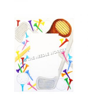 picture frame with golf clubs, balls, and tees