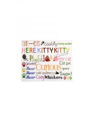 phrases related to cats written in vibrant colors with paw prints, mice, yarn ball, and fish bones