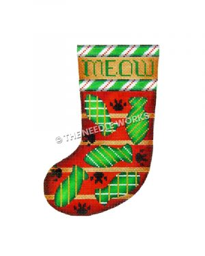 red and green stocking with green fish pattern and paw prints with Meow written on top