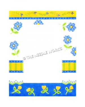 picture frame with yellow, blue and white stripes with blue and yellow flowers