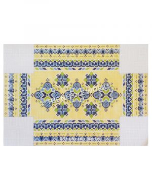 3D yellow box with blue flowers and blue and green geometric patterned stripes