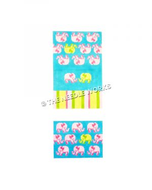 blue purse with pink and yellow elephants and pink, green, and yellow striped band