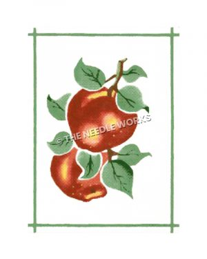 two peaches on branch with green border