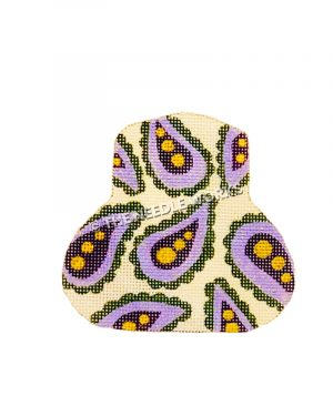 purse decorated with purple, green and gold paisleys