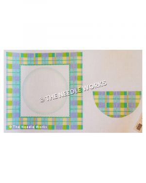 white box framed in blue, yellow, purple, and green plaid with semi-circle in plaid