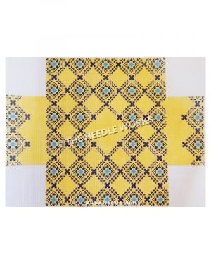 3D box in yellow with purple and blue plaid pattern