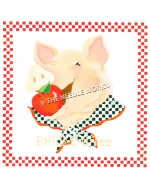 pig with apple in mouth wearing black and white checkered neckerchief and red and white checkered border and Barb-E-Q-Tee written below