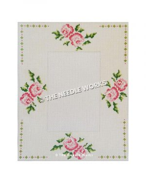 picture frame with pink roses and green and pink border