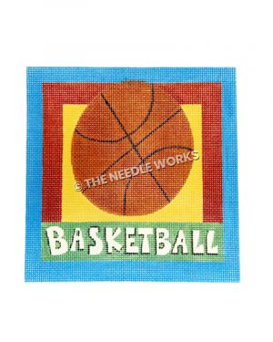 basketball on yellow square with blue and red border with basketball written below