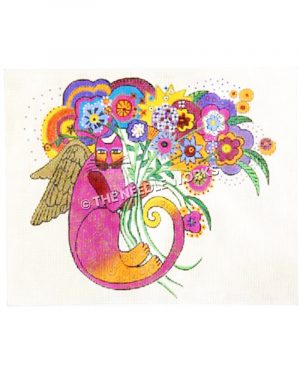 pink and orange cat with wings curled up holding large bouquet with colorful flowers