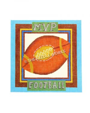 football bordered with blue, brown, and gold with MVP and Football written above and below