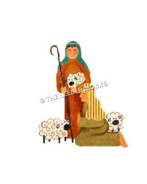 smiling shepherd holding staff and sheep next to kneeling shepherd with two sheep on ground