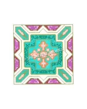 pink fleur de lis on turquoise cross with purple, turquoise, white, and pink southwestern pattern