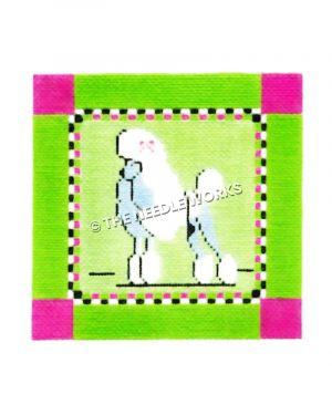 white poodle on lime green square with pink corners and pink, white and black squared border
