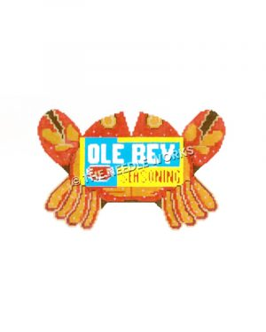 red and orange crab with Ole Bey Seasoning label on back