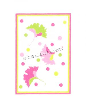 three falling leaves in yellow, pink and green with polka dots on white background and pink and yellow border