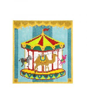 carousel with camel, horse, and pig on turquoise striped background and gold trim