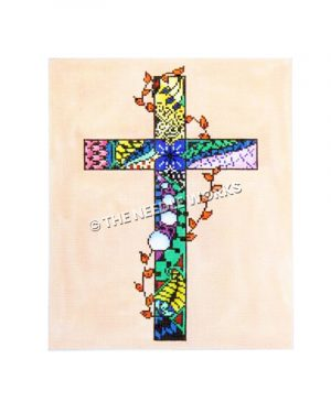 cross with calico pattern in vivid colors and vine with orange leaves wrapped around