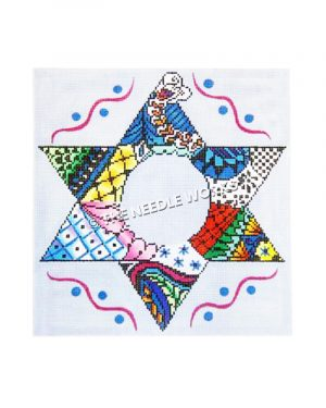 Star of David in calico pattern with vivid colors bordered by pink wavy lines and blue polka dots