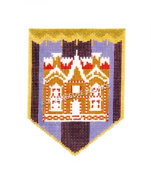 gingerbread house with red and white decorations on a blue and purple striped background on a pocket shape with gold border