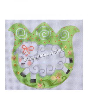 green tulip with white sheep, white swirls, pink polka dots, and yellow flowers