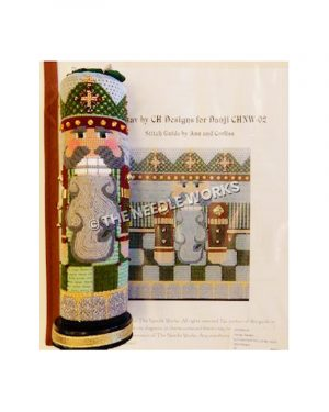 3D cylinder nutcracker in green and silver suit with silver beard and hair and black and gold base
