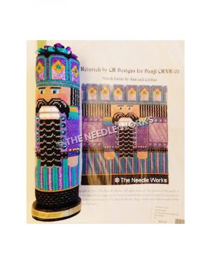 3D cylinder nutcracker in purple, turquoise, and gold suit with black hair and beard on gold base