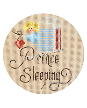 beige ornament with blonde angel in blue dress holding heart and Prince Sleeping written in script