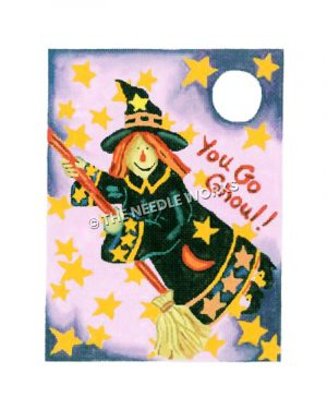witch flying with broom in with stars and moon on dress and stars and moon in background with You Go Ghoul!