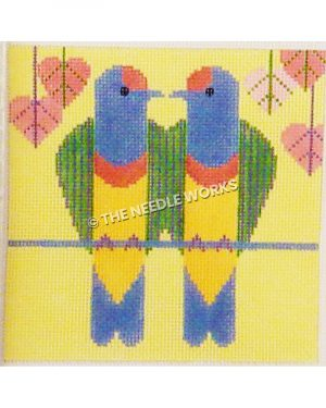 two blue, red, green and yellow birds looking at each other on blue wire with pink heart-shaped leaves hanging above on yellow background