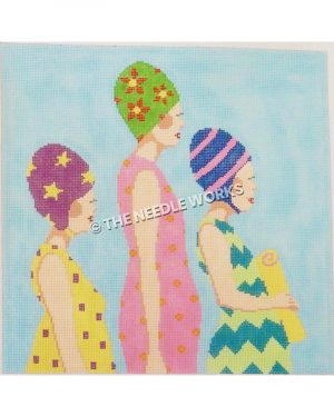 three women in profile with colorful dresses and swim caps in different patterns on blue background