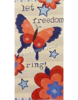 red and blue butterfly and flowers with blue stars and let freedom ring! in blue on white striped background