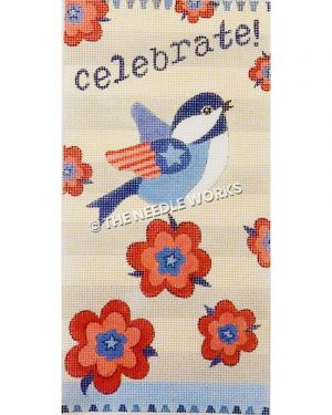 blue, white and red bird with flag pattern on wing with celebrate! in blue on white striped background with red and blue flowers