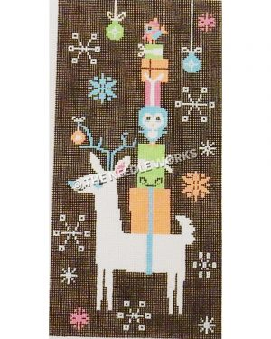white reindeer with blue horns carrying tall stack of gifts with owl and bird in pink, orange, blue, and green on black background with white, blue, orange and pink snowflakes