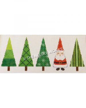 Santa lined up with four Christmas trees all in triangle shapes and different patterns on trees
