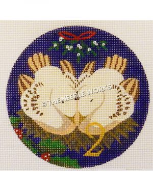 blue ornament with two white turtle doves in nest with gold 2