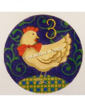 blue ornament with white hen on gold and blue plaid hill and gold 3 with green swirl background