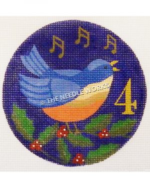 blue ornament with blue bird and musical notes with holly leaves and gold 4