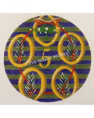 blue and green striped ornament with gold rings and gold 5 with red circle wreath and mistletoe inside rings